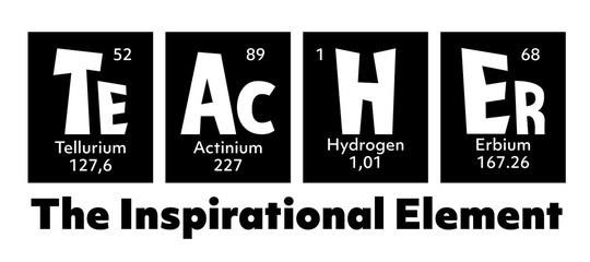 Teacher Periodic Table of elements Quote for School, College,University, back to school, first day at school, graduation gift. Inspirational quotation is Teacher, for science, biology, chemistry tutor