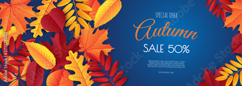 Canvas Print Autumn sale banner, fall season discount poster with falling leaves for shopping promotions,prints,flyers,invitations, special offer card