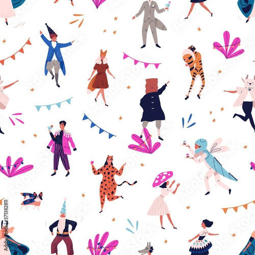 Photo Seamless pattern with tiny people in carnival costume, masquerade clothes