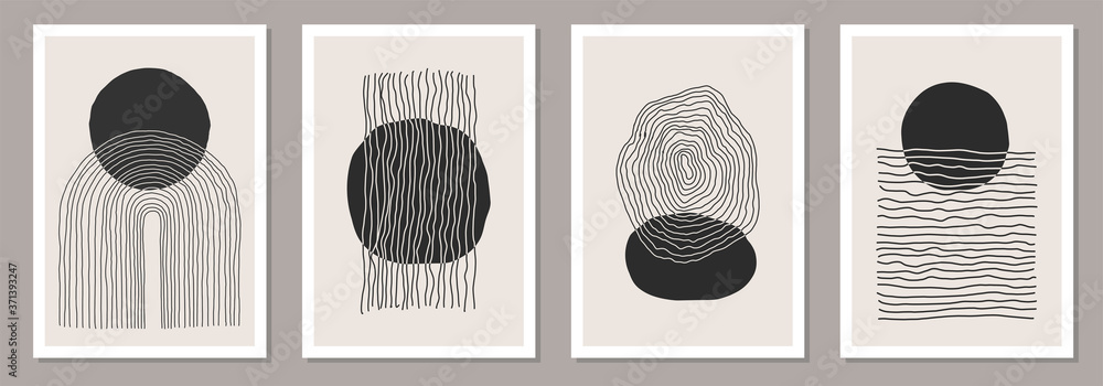 Fototapeta Trendy set of abstract creative minimalist artistic hand painted compositions