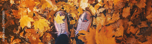 Children in the park with autumn leaves on shoes Wallpaper Mural