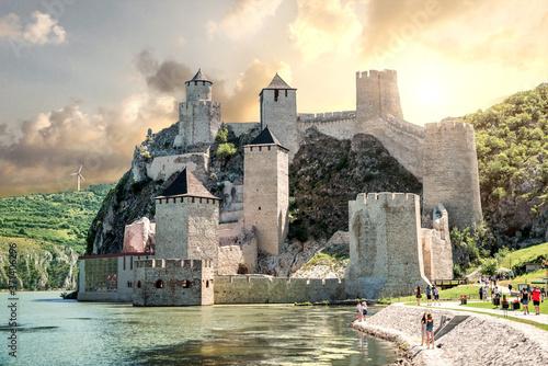 Cuadros en Lienzo old castle in the river. golubac