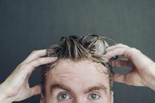 A Man Washes His Hair: Hands A...
