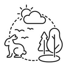 Ecosystem Black Line Icon. Sus...