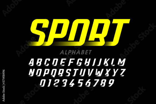 Fotografie, Obraz Speed sport style font, alphabet and numbers