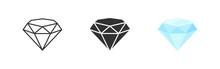 Diamond Set Icon In Flat. Gem Logo Isolated Illustration. Crystal On White Background. Vintage Vector