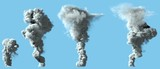 4 different renders of dense white smoke column as from volcano or large industrial explosion - pollution concept, 3d illustration of object