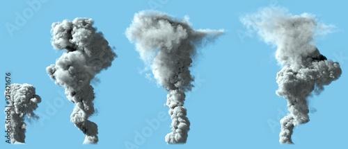 Fotografie, Obraz 4 different renders of dense white smoke column as from volcano or large industr