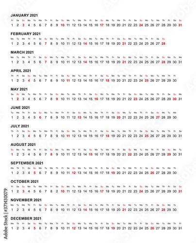 Fototapeta Simple horizontal calendar template year 2021 obraz na płótnie