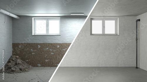 Sanierung und Renovierung von Mauerwerk im Keller Fototapete