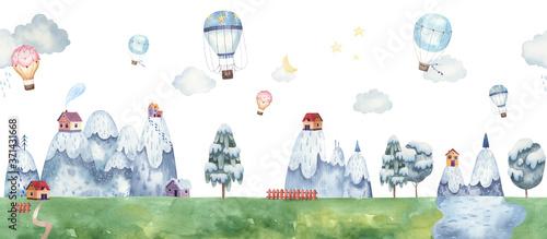 dla-dzieci-gorski-krajobraz-z-balonami-drzewa-las-domy-w-gorach-chmury-pastelowe-delikatne-kolory