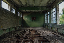 Ruined Gymnasium In Abandoned School