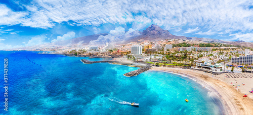 Photo Aerial view with Las Americas beach at Costa Adeje, Tenerife, Canary