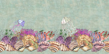 Watercolor Hand Drawn Artistic Colorful Undersea Ocean Life Color Seamless Frame Border