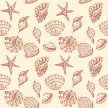 Watercolor Hand Drawn Artistic Colorful Undersea Ocean Life Seamless Monochrome Pattern