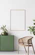 canvas print picture - Frame mock up in Boho Chic Living Room, simple and comfortable design