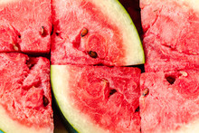 Water Melon Slices. Top View Stock Photo