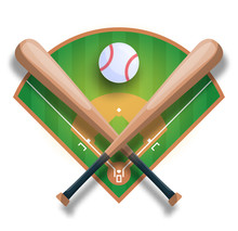Realistic Baseball Concept With Baseball Crossed Bat, Ball And Filed. Vector Sport Iilustration