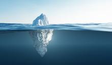 Tip Of The Iceberg. Half Underwater.