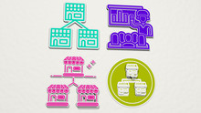 FRANCHISE Colorful Set Of Icons - 3D Illustration For Business And Editorial