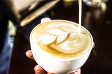 Hand On Barista Making Latte C...
