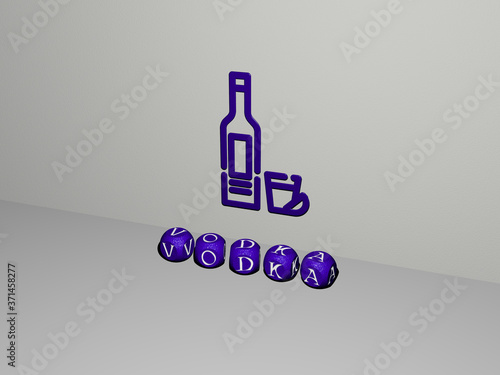 Photo VODKA 3D icon on the wall and text of cubic alphabets on the floor - 3D illustra