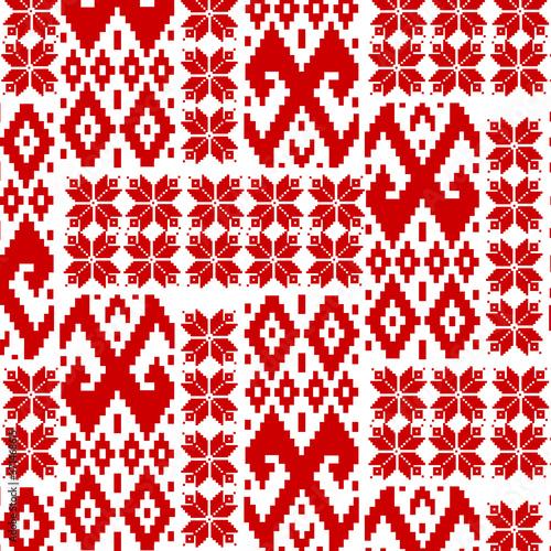 Tapeta czerwona  ukrainian-belarusian-red-embroidery-seamless-pattern-vyshyvanka