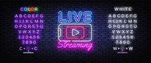 Live Streaming Only Neon Text Vector Design Template. Live Video Neon Sign, Light Banner, Design Element, Night Bright Advertising, Bright Sign. Vector Illustration. Editing Text Neon Sign