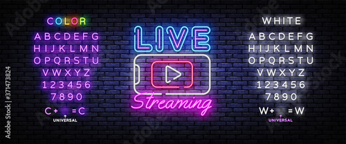 Slika na platnu Live Streaming Only neon text vector design template