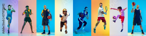 Fototapeta Sport collage of professional athletes or players, sportsmen on multicolored background in neon. Made of different photos of 7 models. Concept of motion, action, power, childhood, active lifestyle. obraz