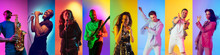 Collage Of Portraits Of 7 Young Emotional Talented Musicians On Multicolored Background In Neon Light. Concept Of Human Emotions, Facial Expression, Sales. Playing Guitar, Singing, Dancing, Jumping.
