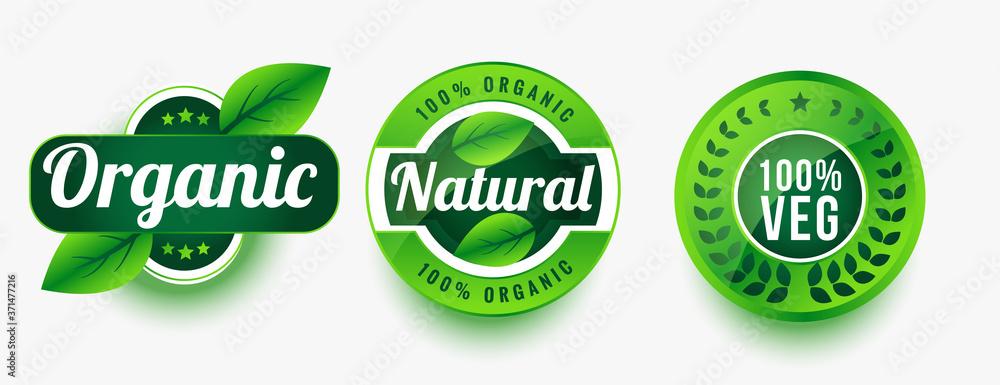 Fototapeta organic natural veg product labels set design