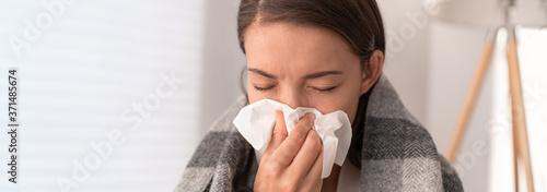Valokuva Sick woman feeling unwell staying home