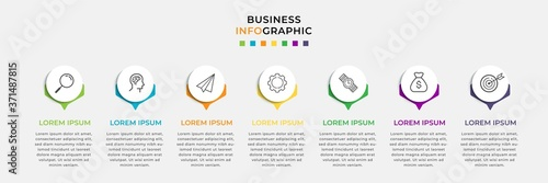 Obraz Business Infographic design template Vector with icons and 7 seven options or steps. Can be used for process diagram, presentations, workflow layout, banner, flow chart, info graph - fototapety do salonu
