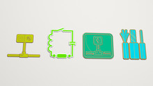 Wiring 4 Icons Set - 3D Illustration For Electrical And Cable