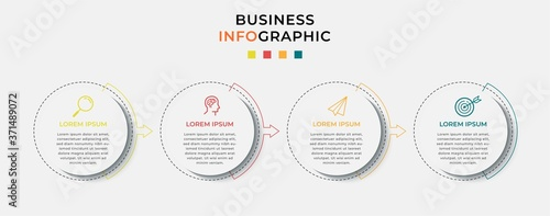 Cuadros en Lienzo Business Infographic design template Vector with icons and 4 four options or steps