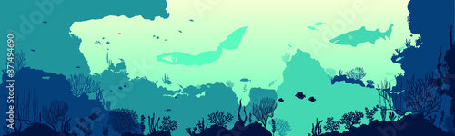 Underwater panorama illustration with fishes and underwater plants silhouettes Fototapet