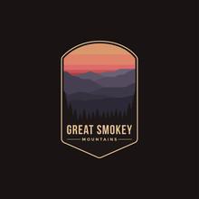 Emblem Patch Logo Illustration Of Great Smokey Mountains National Park On Dark Background