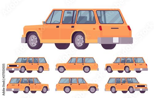 Fototapeta Station wagon, estate car orange set