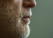 Close Up Of Chin And Beard Of Caucasian Man