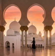 View Of Sheikh Zayed Grand Mosque During Sunset