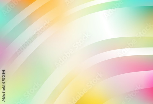Light Multicolor vector layout with curved lines. Wallpaper Mural