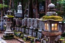 Illuminated Lanterns In Cemetery, Koyasan, Japan