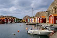 Sweden, Vastra Gotaland County, Smogen, Boats Moored In Marina