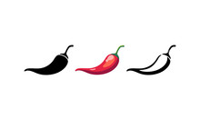 Spicy Chili Hot Pepper Icons. Vector Asian And Mexican Spicy Food And Sauce, Red And Black Outline Chili