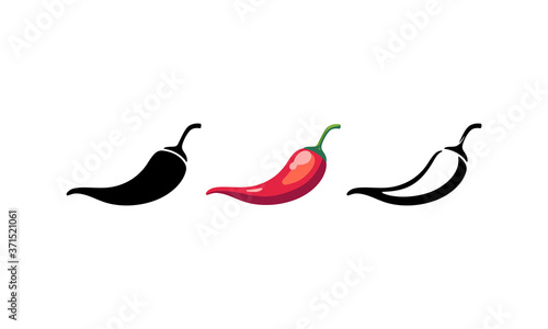 Spicy chili hot pepper icons Poster Mural XXL