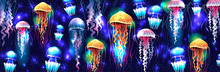 Glowing Vivid Transparent Underwater Jellyfishes