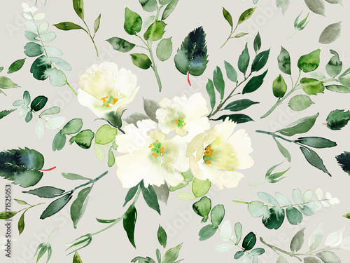 Canvastavla Seamless summer pattern with watercolor flowers handmade.