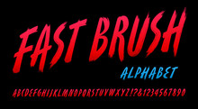 A Tall Condensed And Slanted Brush Alphabet In Bright Red Tones. Fast Brush Font Has A Look Of Being Quickly Painted With Slashing Strokes. 1980s Vibe Would Go Great With Retro Eighties Graphics.