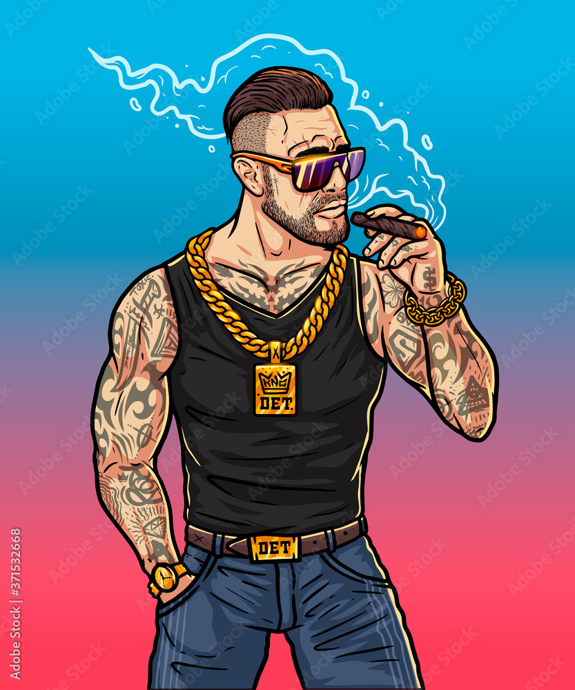 Fototapeta Rich boy - cartoon character in game style. Boss gangster in sunglasses and gold chain. Brutal man smokes a cigar near the club. Fashionable rapper with cigar in his hand. High resolution illustration